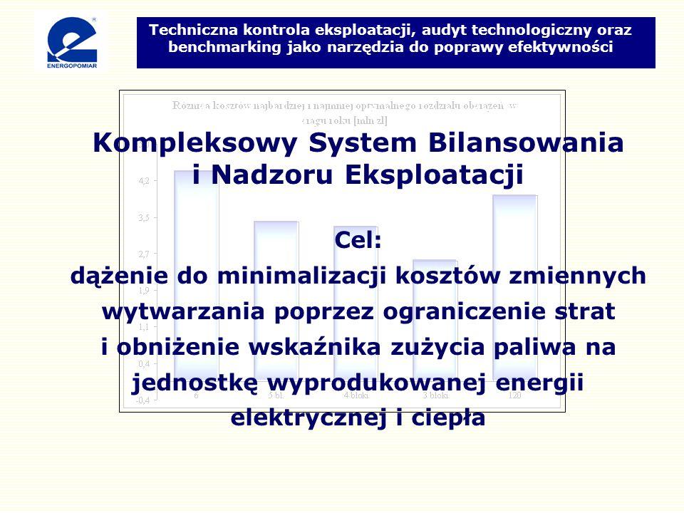 Kompleksowy System Bilansowania i Nadzoru Eksploatacji Cel: dążenie do minimalizacji kosztów zmiennych wytwarzania poprzez ograniczenie strat i obniżenie wskaźnika zużycia paliwa na jednostkę wyprodukowanej energii elektrycznej i ciepła Techniczna kontrola eksploatacji, audyt technologiczny oraz benchmarking jako narzędzia do poprawy efektywności