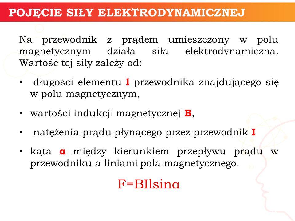 Na przewodnik z prądem umieszczony w polu magnetycznym działa siła elektrodynamiczna. Wartość tej siły zależy od: długości elementu l przewodnika znaj