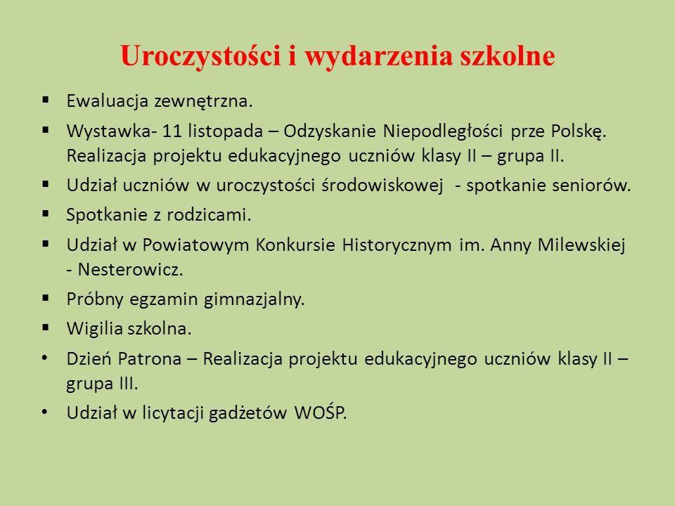 Uroczystości i wydarzenia szkolne  Ewaluacja zewnętrzna.  Wystawka- 11 listopada – Odzyskanie Niepodległości prze Polskę. Realizacja projektu edukac