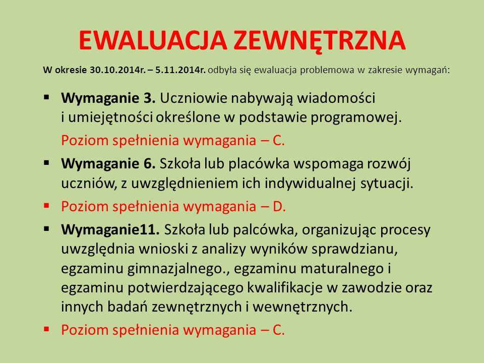EWALUACJA ZEWNĘTRZNA W okresie 30.10.2014r. – 5.11.2014r. odbyła się ewaluacja problemowa w zakresie wymagań:  Wymaganie 3. Uczniowie nabywają wiadom