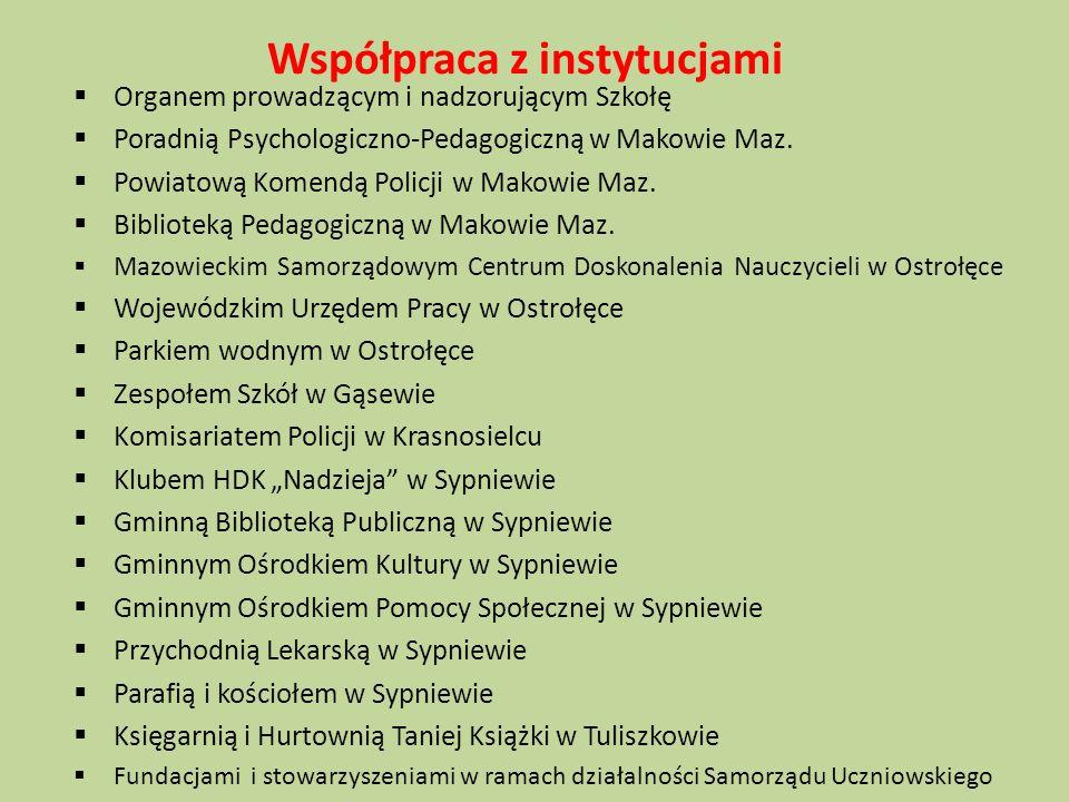 Współpraca z instytucjami  Organem prowadzącym i nadzorującym Szkołę  Poradnią Psychologiczno-Pedagogiczną w Makowie Maz.  Powiatową Komendą Policj