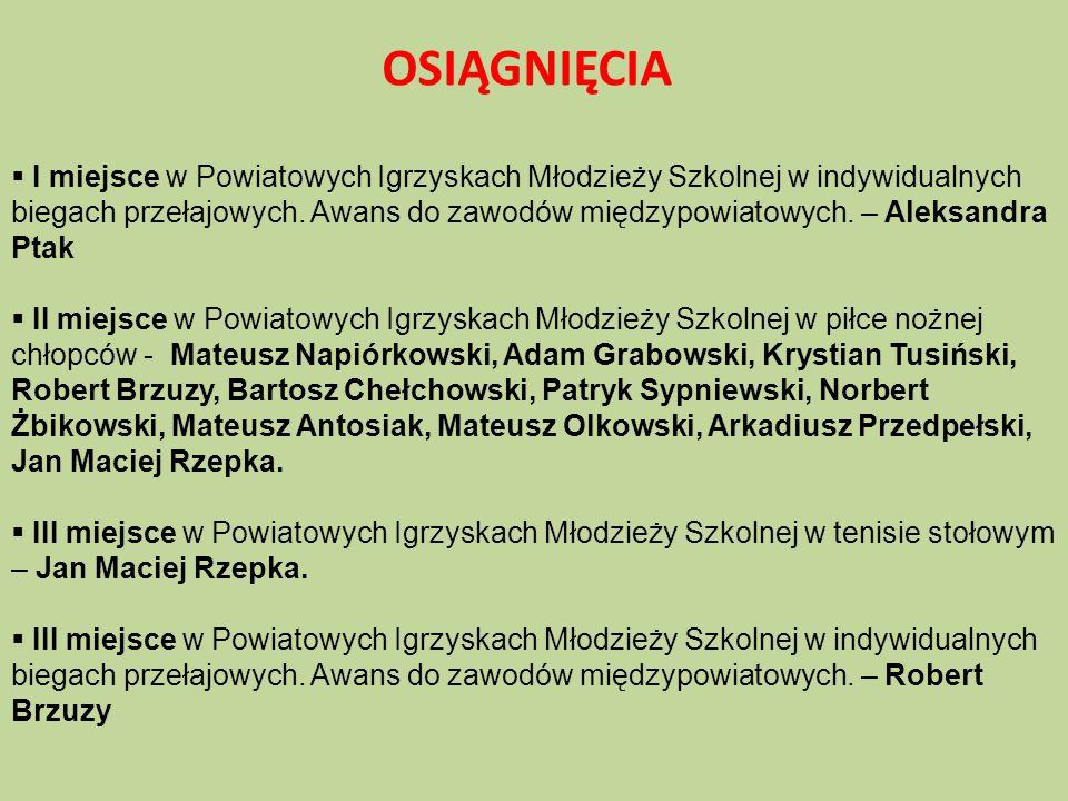  IV miejsce w Powiatowych Igrzyskach Młodzieży Szkolnej w indywidualnych biegach przełajowych.