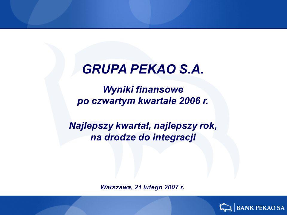 Warszawa, 21 lutego 2007 r. GRUPA PEKAO S.A. Wyniki finansowe po czwartym kwartale 2006 r. Najlepszy kwartał, najlepszy rok, na drodze do integracji