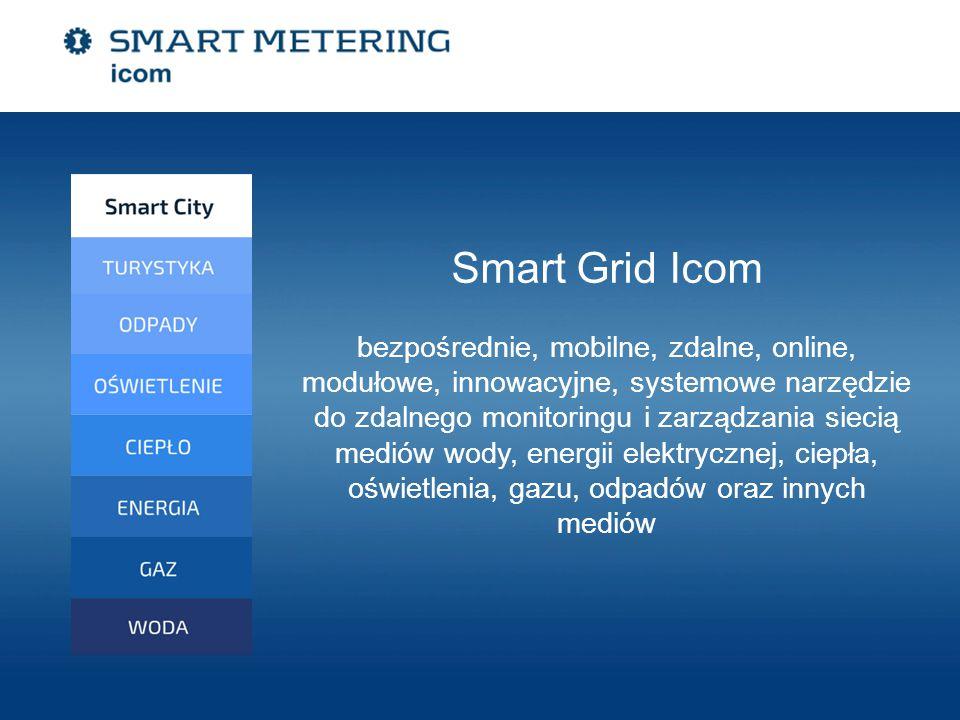 Smart Grid Icom bezpośrednie, mobilne, zdalne, online, modułowe, innowacyjne, systemowe narzędzie do zdalnego monitoringu i zarządzania siecią mediów wody, energii elektrycznej, ciepła, oświetlenia, gazu, odpadów oraz innych mediów
