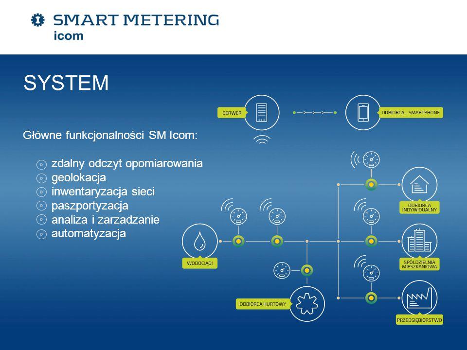 SYSTEM Główne funkcjonalności SM Icom: zdalny odczyt opomiarowania geolokacja inwentaryzacja sieci paszportyzacja analiza i zarzadzanie automatyzacja