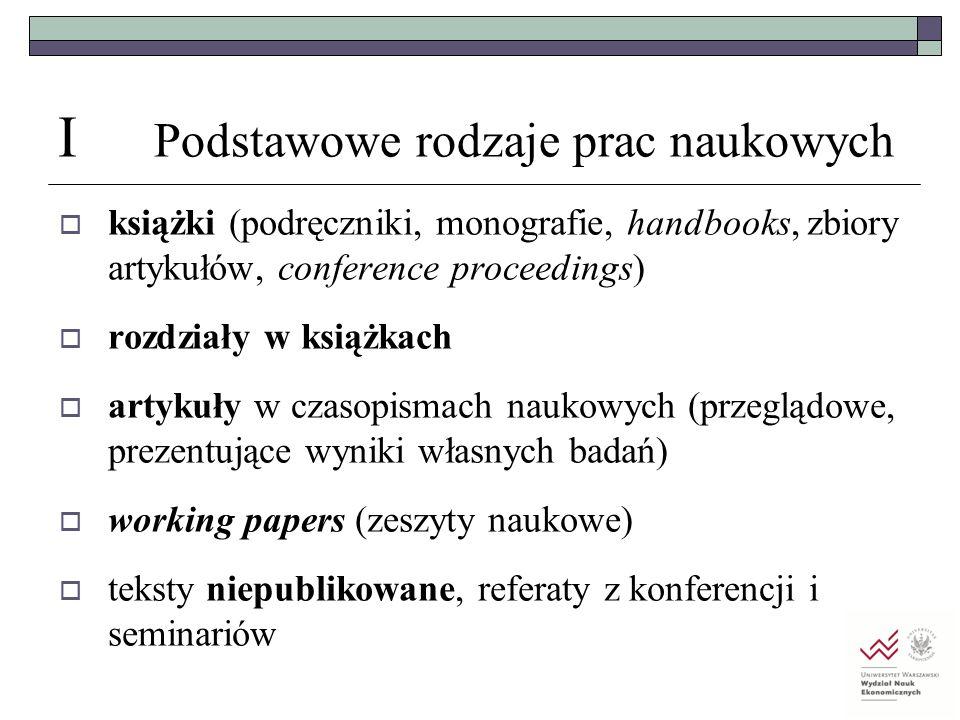 I Podstawowe rodzaje prac naukowych  książki (podręczniki, monografie, handbooks, zbiory artykułów, conference proceedings)  rozdziały w książkach 
