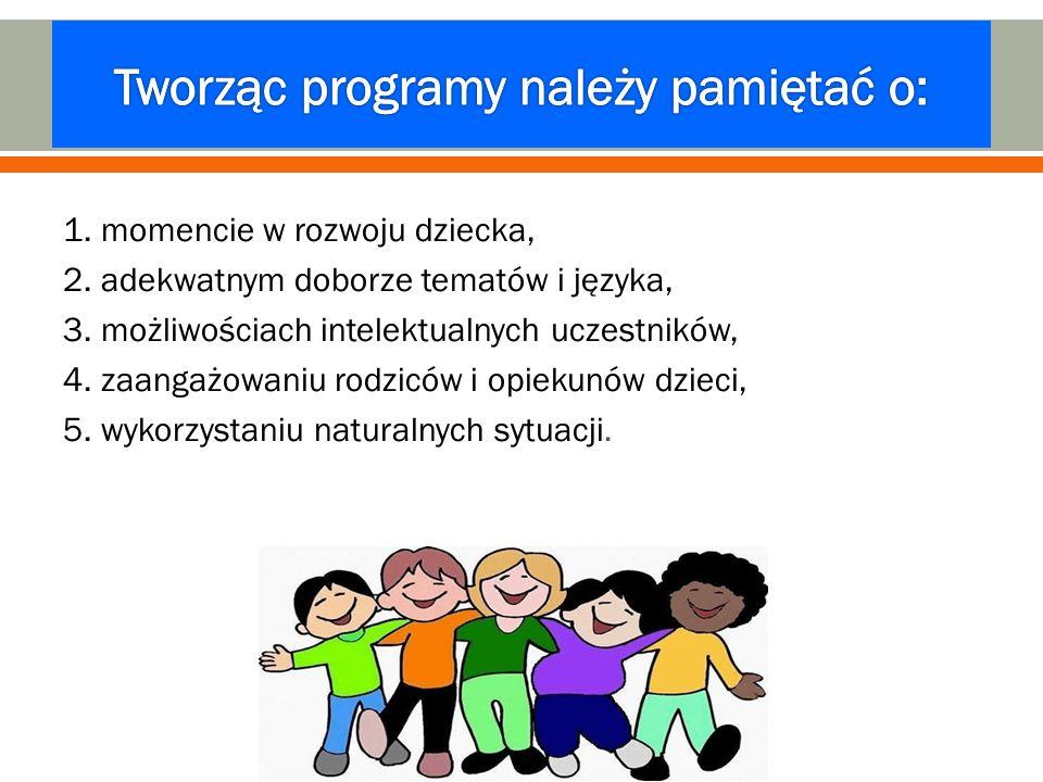 1. momencie w rozwoju dziecka, 2. adekwatnym doborze tematów i języka, 3. możliwościach intelektualnych uczestników, 4. zaangażowaniu rodziców i opiek