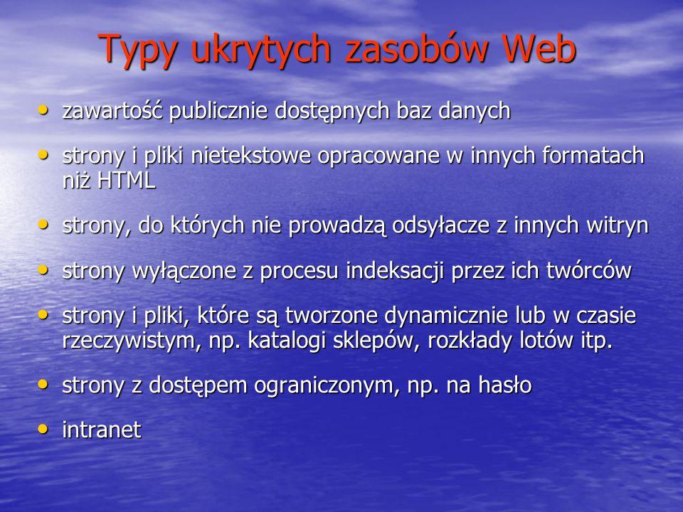 Typy ukrytych zasobów Web zawartość publicznie dostępnych baz danych zawartość publicznie dostępnych baz danych strony i pliki nietekstowe opracowane
