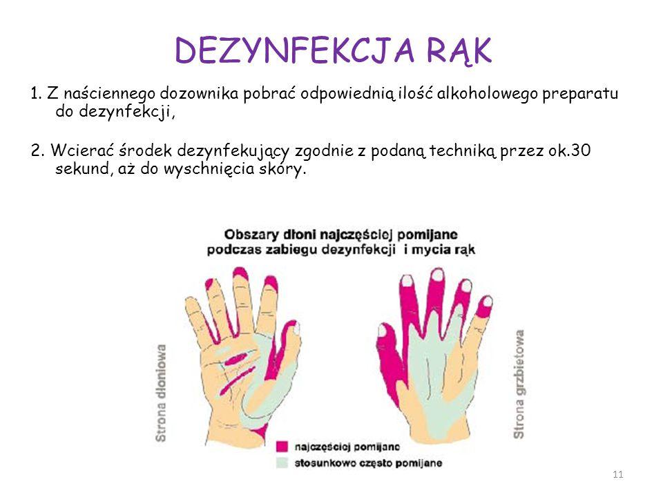 DEZYNFEKCJA RĄK 1. Z naściennego dozownika pobrać odpowiednią ilość alkoholowego preparatu do dezynfekcji, 2. Wcierać środek dezynfekujący zgodnie z p