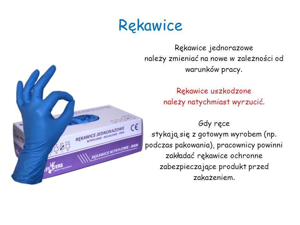 Rękawice Rękawice jednorazowe należy zmieniać na nowe w zależności od warunków pracy. Rękawice uszkodzone należy natychmiast wyrzucić. Gdy ręce stykaj