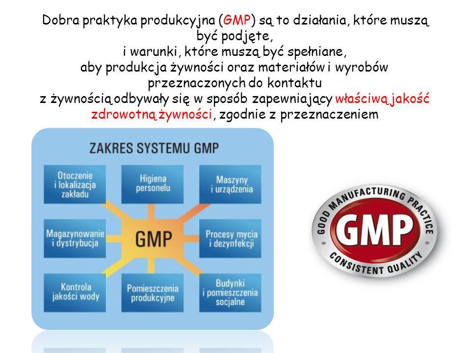 Dobra praktyka produkcyjna (GMP) są to działania, które muszą być podjęte, i warunki, które muszą być spełniane, aby produkcja żywności oraz materiałó