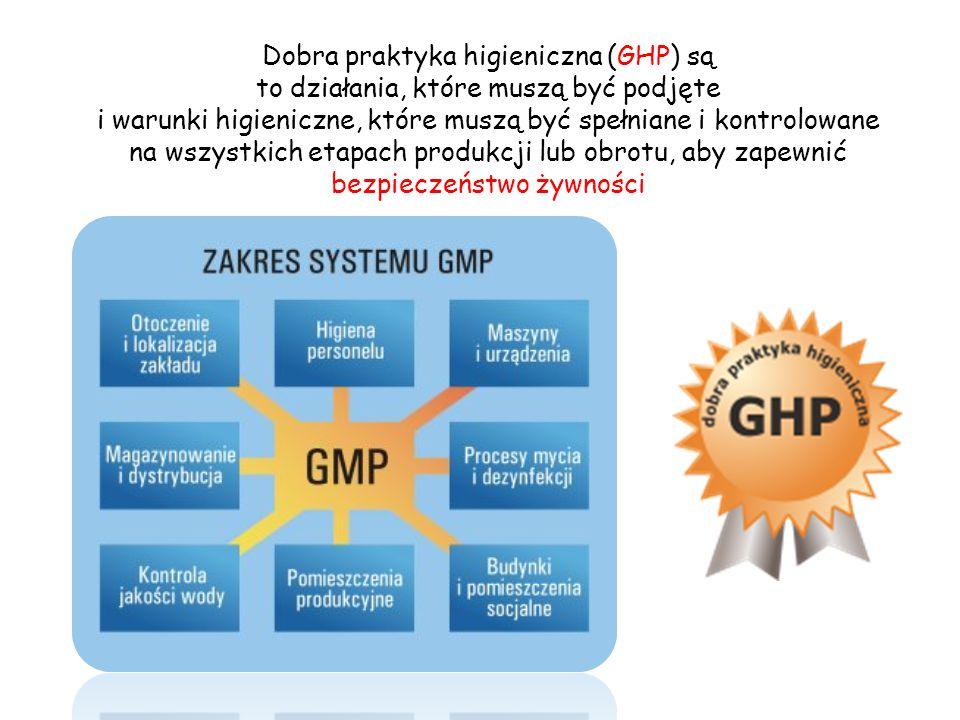 GMP GHP Wartość odżywcza Właściwości sensoryczne Właściwości funkcjonalne Bezpieczeństwo Jakość zdrowotna żywności Zarówno praktyka GHP, jak i praktyka GMP dotyczy wymagań higienicznych w produkcji i obrocie żywnością.