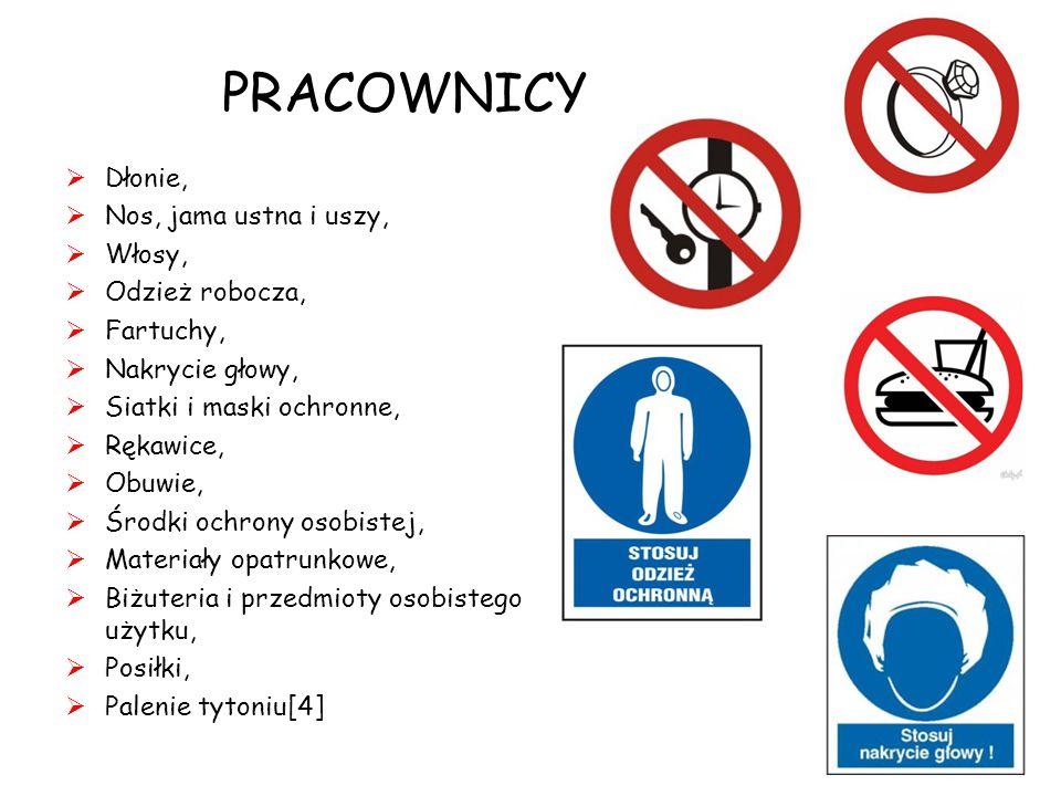 PRACOWNICY  Dłonie,  Nos, jama ustna i uszy,  Włosy,  Odzież robocza,  Fartuchy,  Nakrycie głowy,  Siatki i maski ochronne,  Rękawice,  Obuwie,  Środki ochrony osobistej,  Materiały opatrunkowe,  Biżuteria i przedmioty osobistego użytku,  Posiłki,  Palenie tytoniu[4] 8