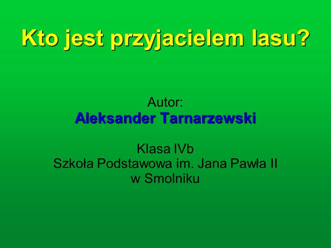 Kto jest przyjacielem lasu? Autor: Aleksander Tarnarzewski Klasa IVb Szkoła Podstawowa im. Jana Pawła II w Smolniku