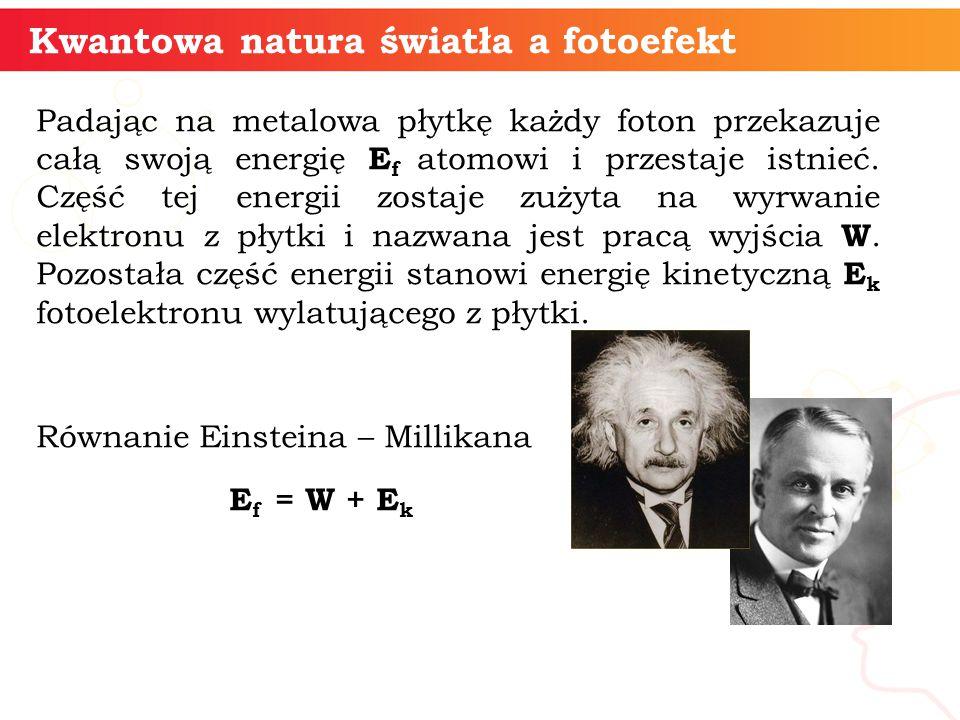informatyka + 6 Kwantowa natura światła a fotoefekt Padając na metalowa płytkę każdy foton przekazuje całą swoją energię E f atomowi i przestaje istni