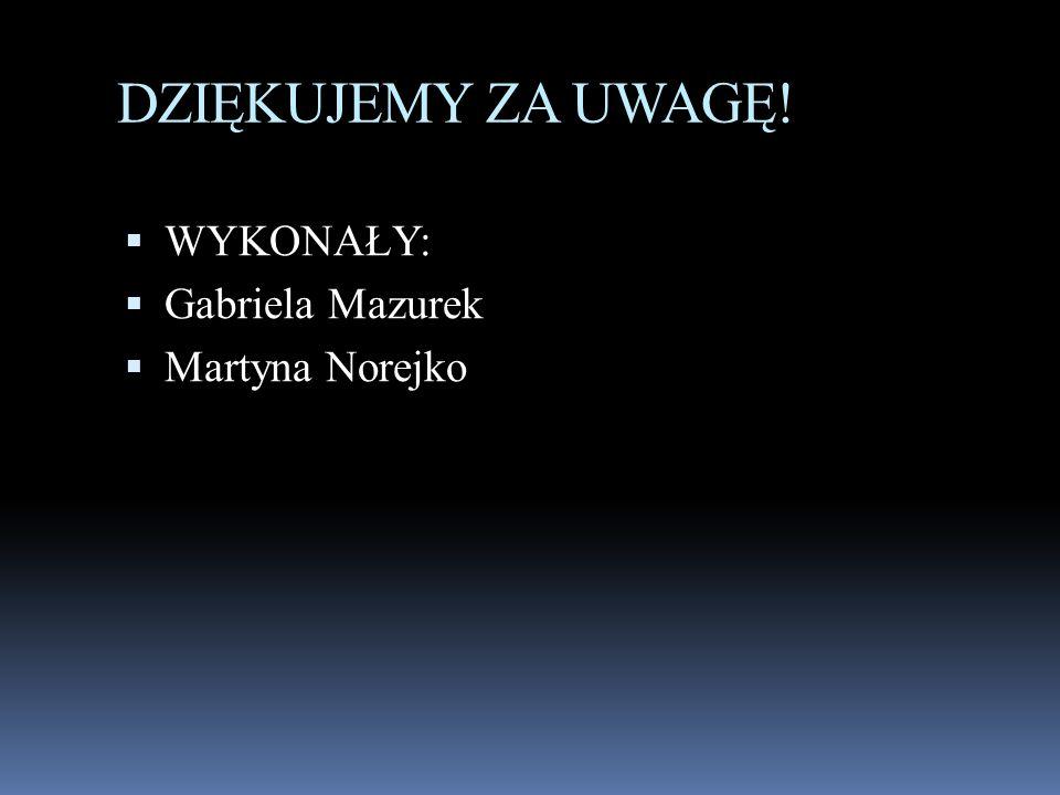 DZIĘKUJEMY ZA UWAGĘ!  WYKONAŁY:  Gabriela Mazurek  Martyna Norejko