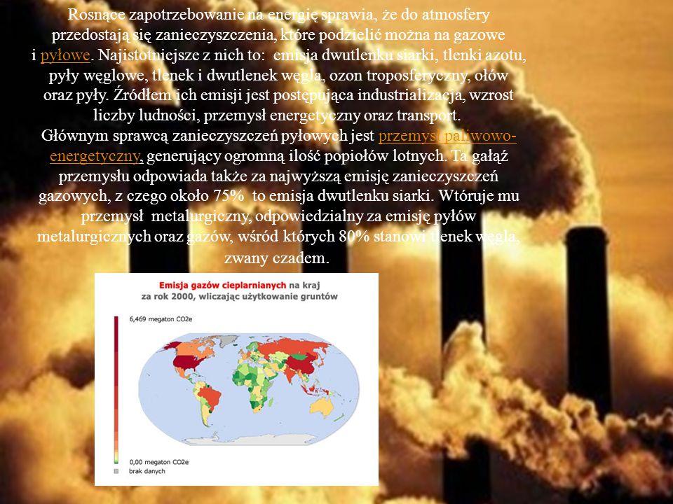 Rosnące zapotrzebowanie na energię sprawia, że do atmosfery przedostają się zanieczyszczenia, które podzielić można na gazowe i pyłowe.