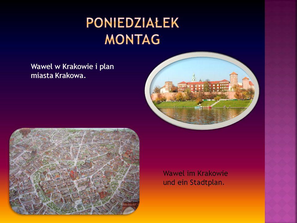 Wawel w Krakowie i plan miasta Krakowa. Wawel im Krakowie und ein Stadtplan.