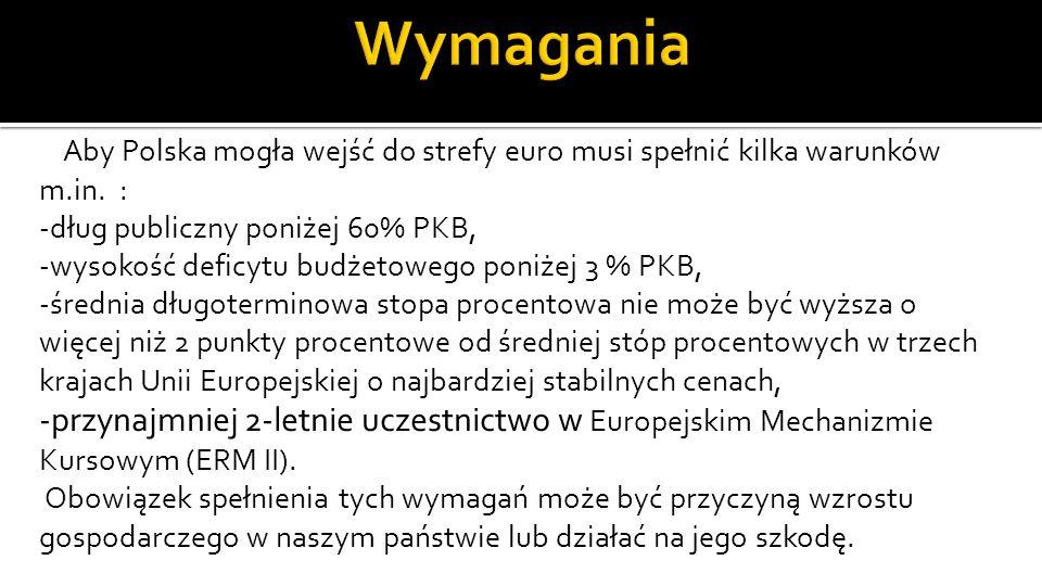 Aby Polska mogła wejść do strefy euro musi spełnić kilka warunków m.in.