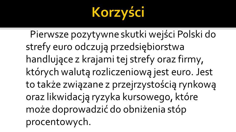 Pierwsze pozytywne skutki wejści Polski do strefy euro odczują przedsiębiorstwa handlujące z krajami tej strefy oraz firmy, których walutą rozliczeniową jest euro.