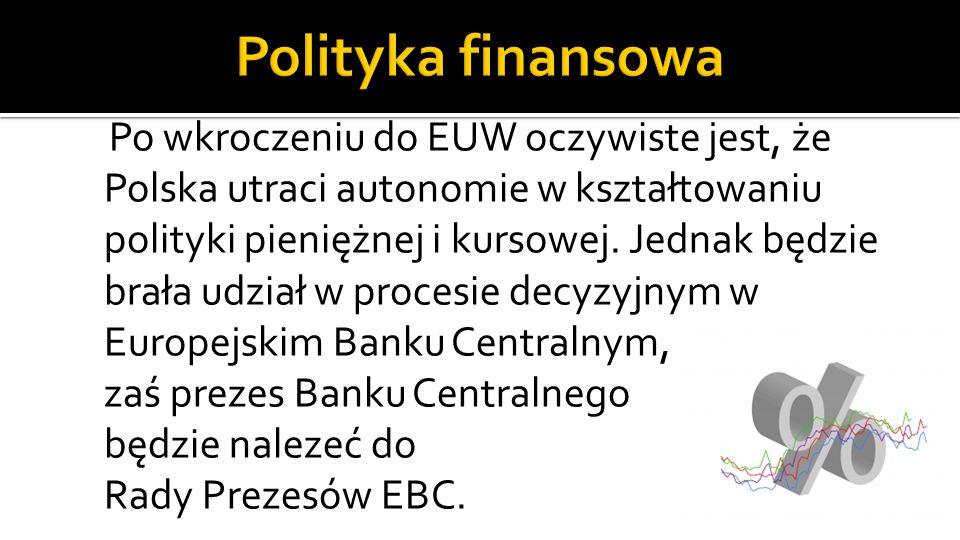 Po wkroczeniu do EUW oczywiste jest, że Polska utraci autonomie w kształtowaniu polityki pieniężnej i kursowej.