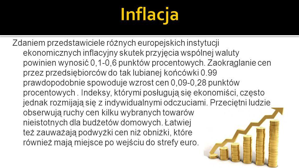 Zdaniem przedstawiciele różnych europejskich instytucji ekonomicznych inflacyjny skutek przyjęcia wspólnej waluty powinien wynosić 0,1-0,6 punktów procentowych.