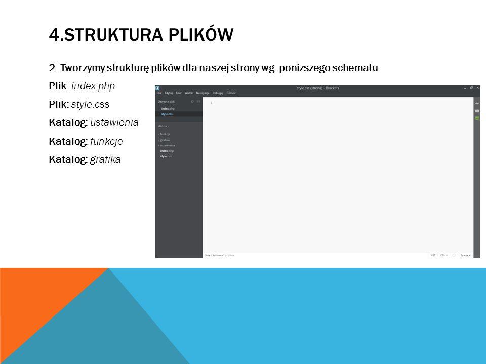 4.STRUKTURA PLIKÓW 2. Tworzymy strukturę plików dla naszej strony wg.