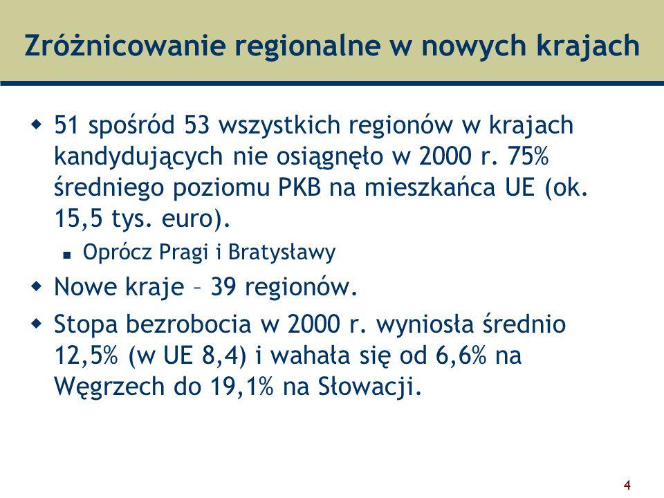 4 Zróżnicowanie regionalne w nowych krajach  51 spośród 53 wszystkich regionów w krajach kandydujących nie osiągnęło w 2000 r.