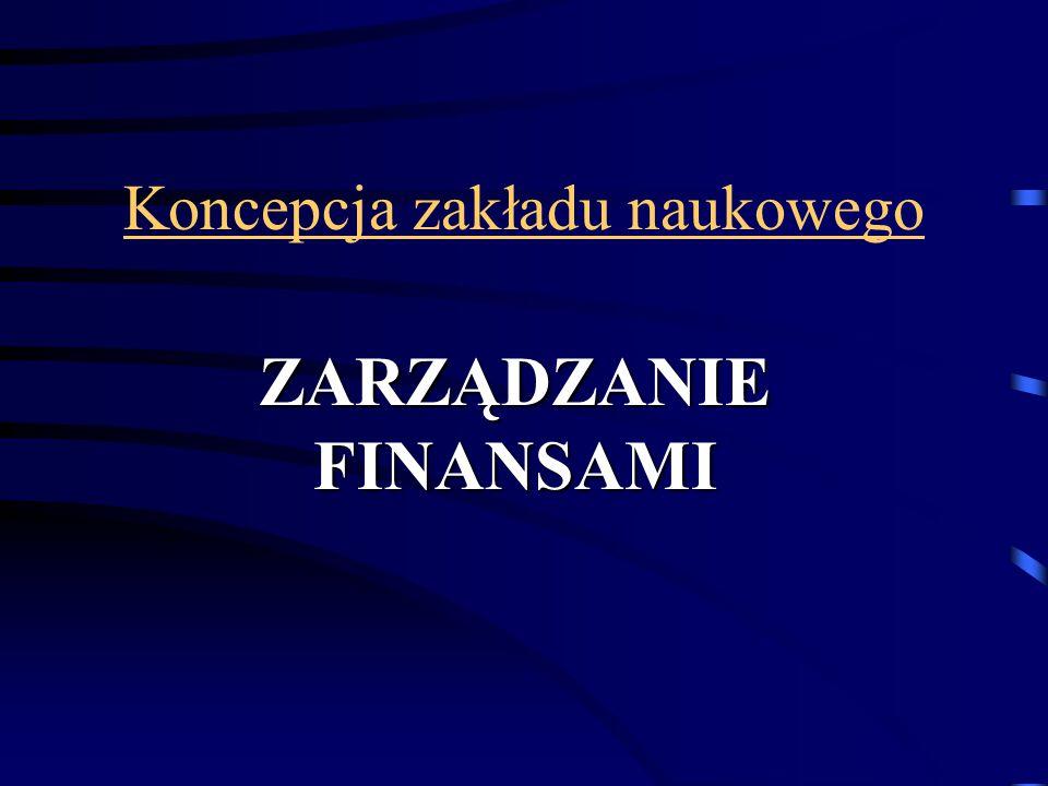 Celowość utworzenia zakładu stworzenie zakładu zajmującego się w sposób kompleksowy tematyką zarządzania finansami, integracja pracowników zajmujących się szeroko rozumianą problematyką finansów, zapewnienie zaplecza naukowego dla specjalności Zarządzanie Systemami Finansowymi