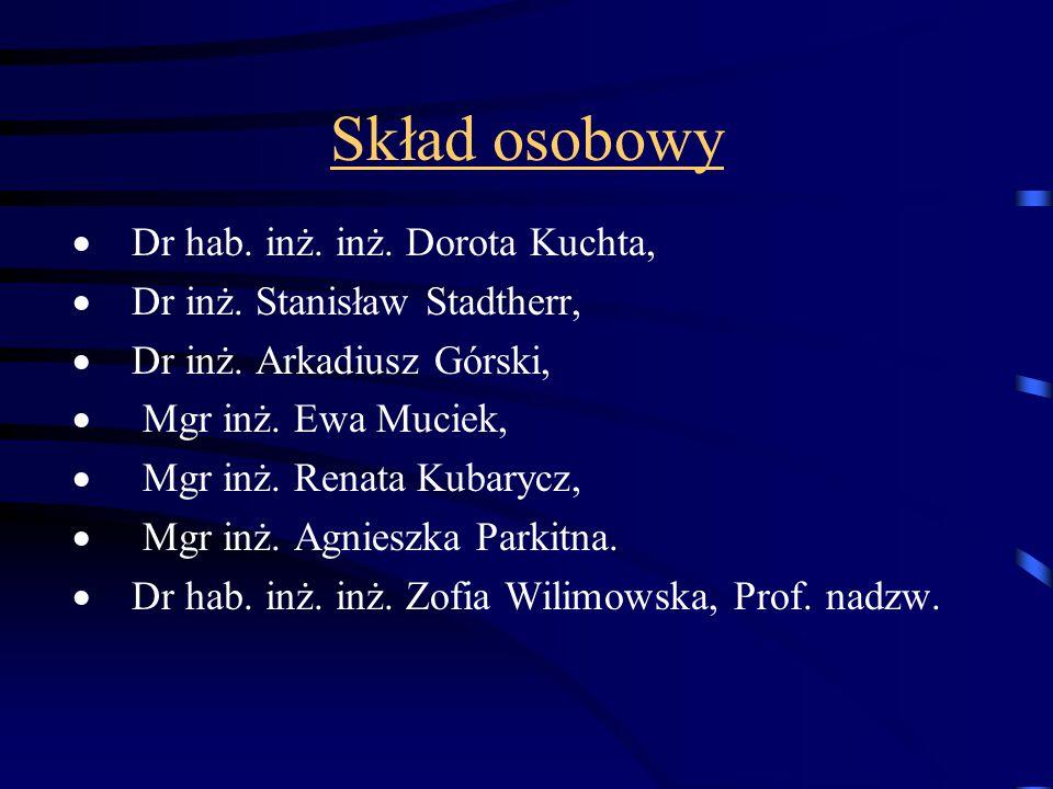 Skład osobowy  Dr hab. inż. inż. Dorota Kuchta,  Dr inż. Stanisław Stadtherr,  Dr inż. Arkadiusz Górski,  Mgr inż. Ewa Muciek,  Mgr inż. Renata K