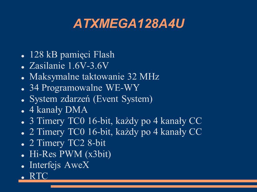 ATXMEGA128A4U 128 kB pamięci Flash Zasilanie 1.6V-3.6V Maksymalne taktowanie 32 MHz 34 Programowalne WE-WY System zdarzeń (Event System) 4 kanały DMA 3 Timery TC0 16-bit, każdy po 4 kanały CC 2 Timery TC0 16-bit, każdy po 4 kanały CC 2 Timery TC2 8-bit Hi-Res PWM (x3bit) Interfejs AweX RTC