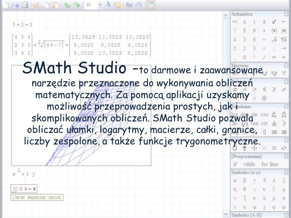 SMath Studio - to darmowe i zaawansowane narzędzie przeznaczone do wykonywania obliczeń matematycznych.