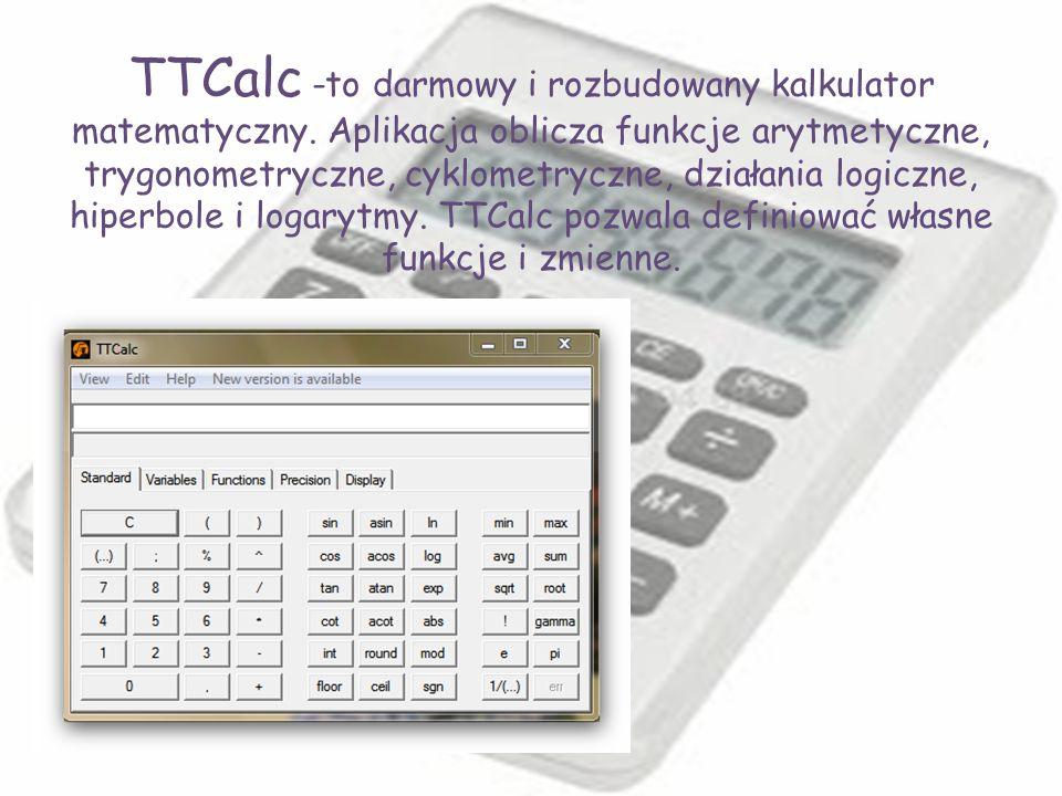 TTCalc -to darmowy i rozbudowany kalkulator matematyczny. Aplikacja oblicza funkcje arytmetyczne, trygonometryczne, cyklometryczne, działania logiczne