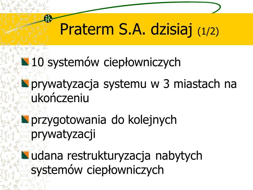 10 systemów ciepłowniczych prywatyzacja systemu w 3 miastach na ukończeniu przygotowania do kolejnych prywatyzacji udana restrukturyzacja nabytych sys
