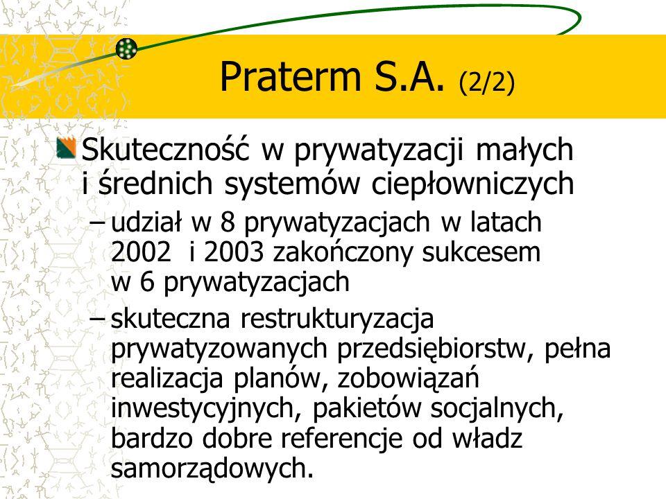 Skuteczność w prywatyzacji małych i średnich systemów ciepłowniczych –udział w 8 prywatyzacjach w latach 2002 i 2003 zakończony sukcesem w 6 prywatyza