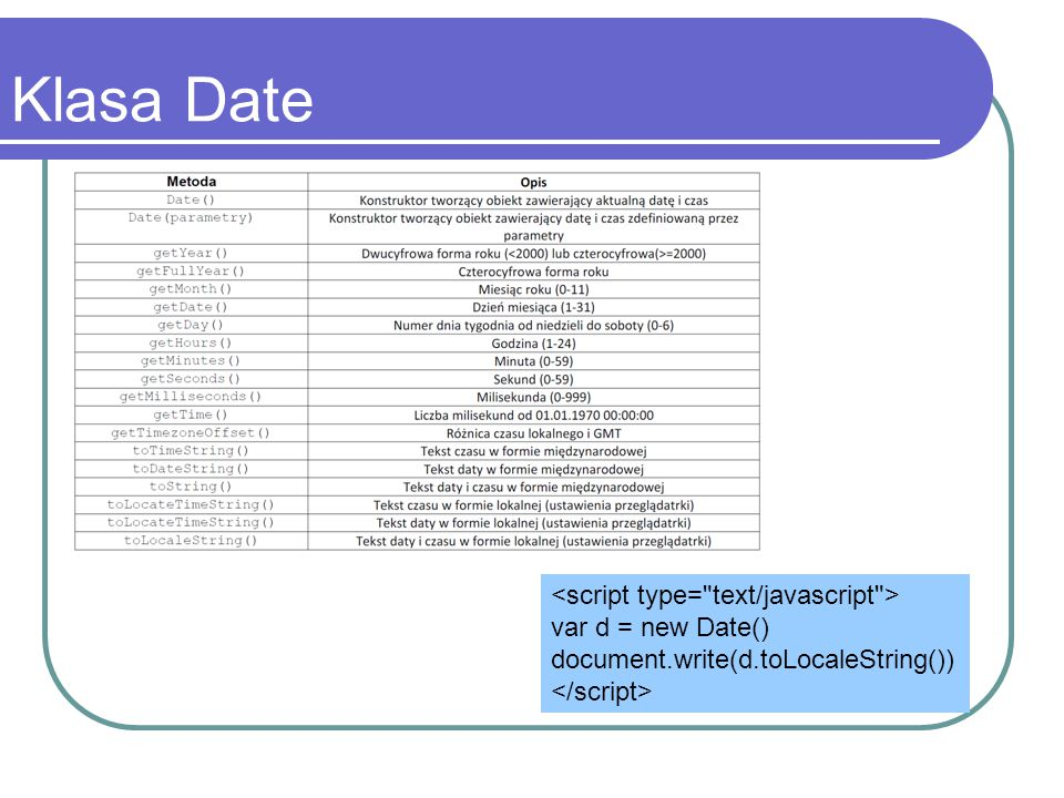 Klasa Date var d = new Date() document.write(d.toLocaleString())