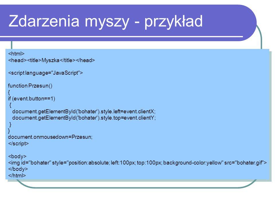 Zdarzenia myszy - przykład Myszka function Przesun() { if (event.button==1) { document.getElementById('bohater').style.left=event.clientX; document.ge