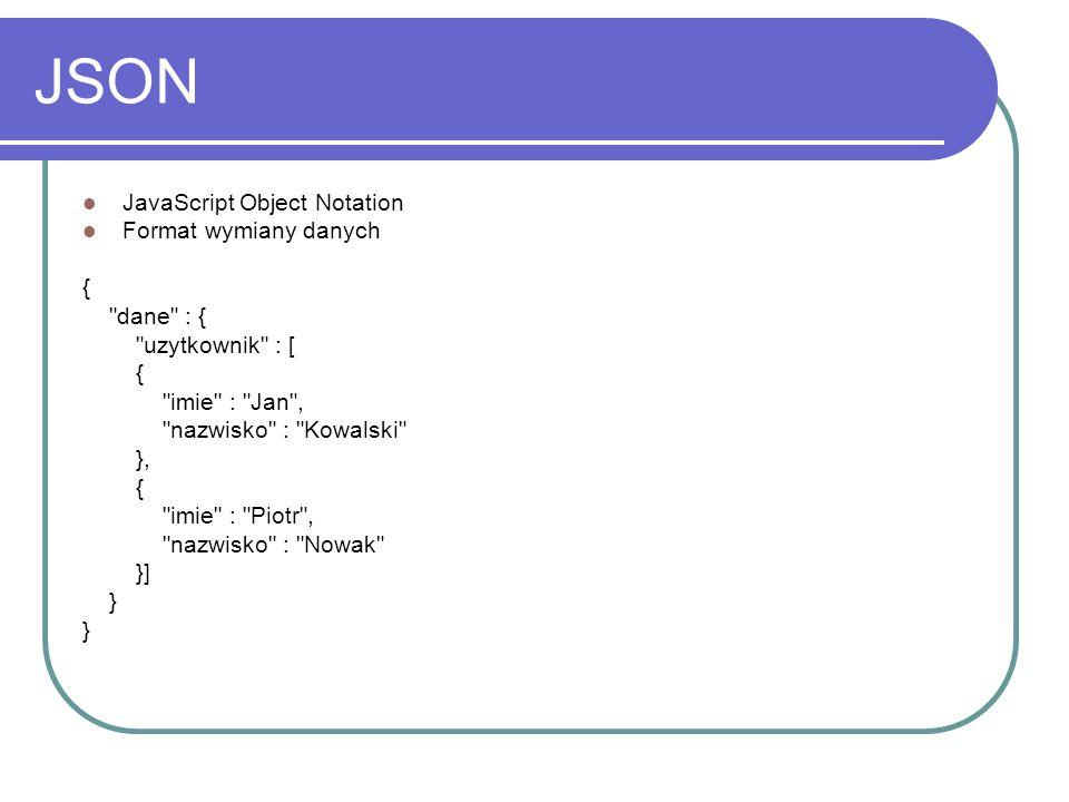 JSON JavaScript Object Notation Format wymiany danych {