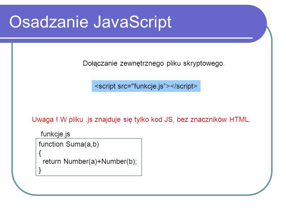Osadzanie JavaScript Dołączanie zewnętrznego pliku skryptowego. Uwaga ! W pliku.js znajduje się tylko kod JS, bez znaczników HTML. function Suma(a,b)