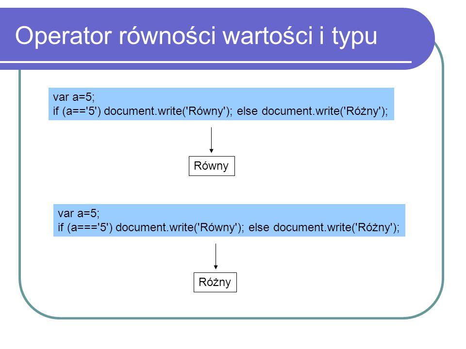 Operator równości wartości i typu var a=5; if (a=='5') document.write('Równy'); else document.write('Różny'); Równy var a=5; if (a==='5') document.wri