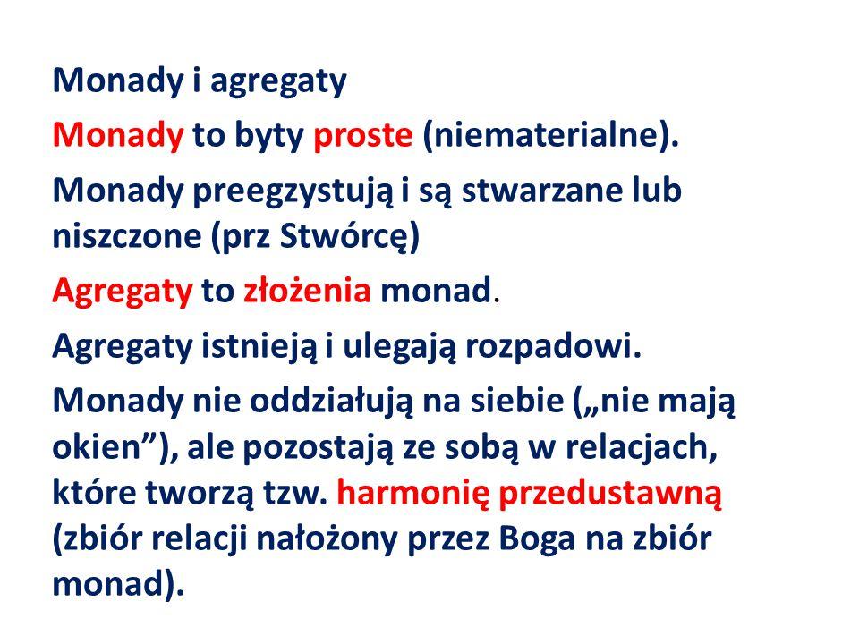 Monady i agregaty Monady to byty proste (niematerialne). Monady preegzystują i są stwarzane lub niszczone (prz Stwórcę) Agregaty to złożenia monad. Ag