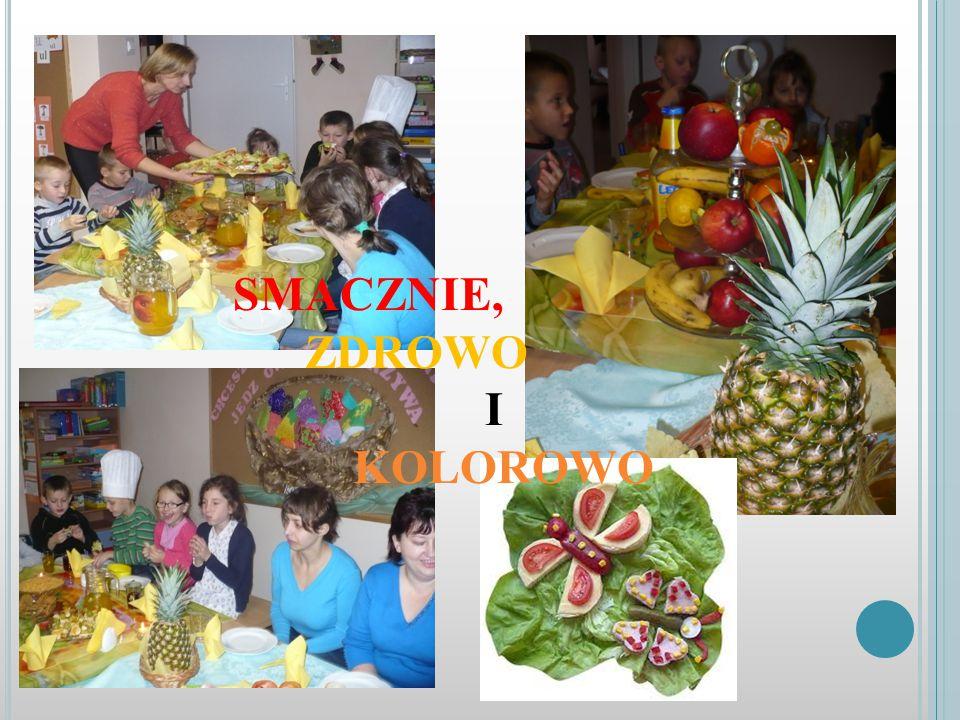 NA NASZYM STOLE Na suto zastawionym stole królowały surowe oraz przetworzone owoce, warzywa, świeże pieczywo, jajka z majonezem, płatki kukurydziane,