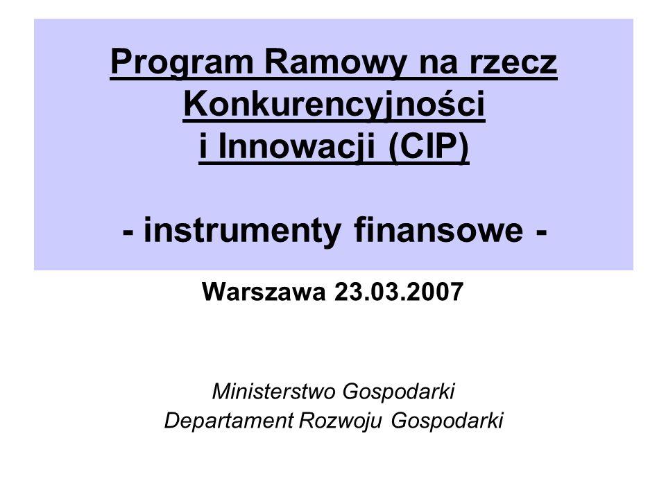 Program Ramowy na rzecz Konkurencyjności i Innowacji (CIP) - instrumenty finansowe - Warszawa 23.03.2007 Ministerstwo Gospodarki Departament Rozwoju Gospodarki