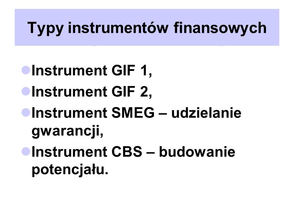Typy instrumentów finansowych Instrument GIF 1, Instrument GIF 2, Instrument SMEG – udzielanie gwarancji, Instrument CBS – budowanie potencjału.