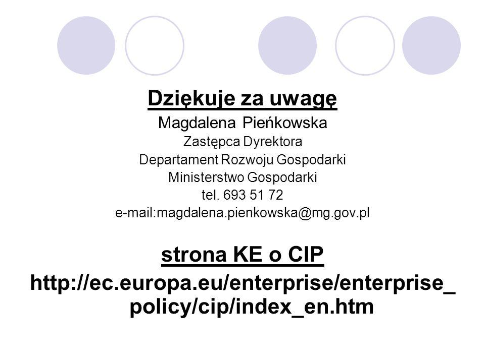 Dziękuje za uwagę Magdalena Pieńkowska Zastępca Dyrektora Departament Rozwoju Gospodarki Ministerstwo Gospodarki tel. 693 51 72 e-mail:magdalena.pienk