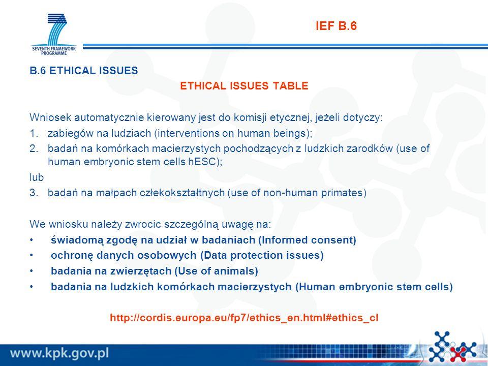 IEF B.6 B.6 ETHICAL ISSUES ETHICAL ISSUES TABLE Wniosek automatycznie kierowany jest do komisji etycznej, jeżeli dotyczy: 1.zabiegów na ludziach (interventions on human beings); 2.badań na komórkach macierzystych pochodzących z ludzkich zarodków (use of human embryonic stem cells hESC); lub 3.