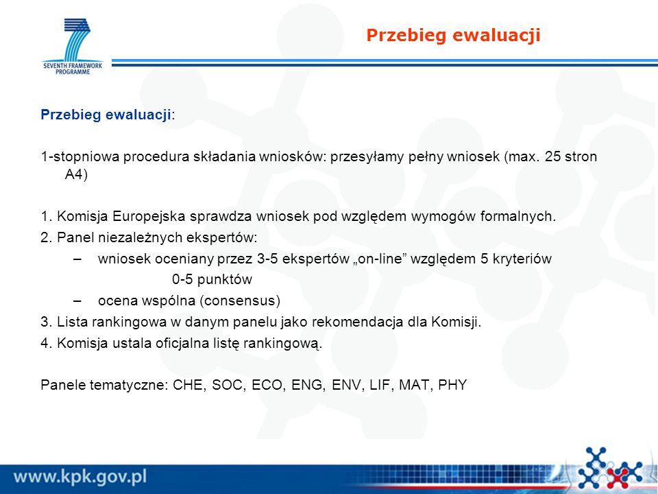 Przebieg ewaluacji Przebieg ewaluacji: 1-stopniowa procedura składania wniosków: przesyłamy pełny wniosek (max. 25 stron A4) 1. Komisja Europejska spr