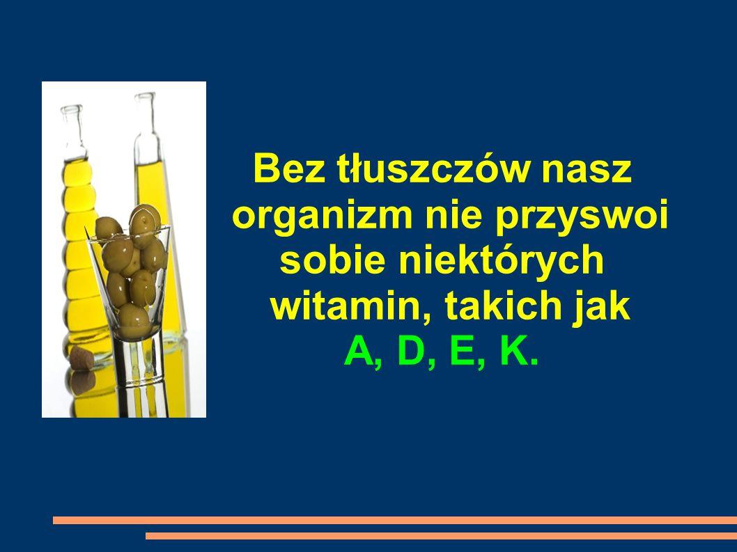 Bez tłuszczów nasz organizm nie przyswoi sobie niektórych witamin, takich jak A, D, E, K.