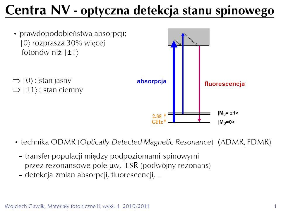 Wojciech Gawlik, Materiały fotoniczne II, wykł. 4 2010/20111 Centra NV - optyczna detekcja stanu spinowego prawdopodobie ń stwa absorpcji; |0  rozpra