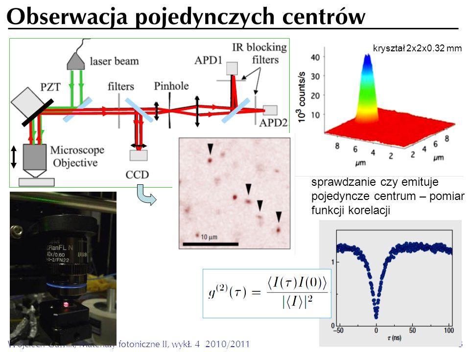 Wojciech Gawlik, Materiały fotoniczne II, wykł. 4 2010/20113 Obserwacja pojedynczych centrów kryształ 2x2x0.32 mm sprawdzanie czy emituje pojedyncze c